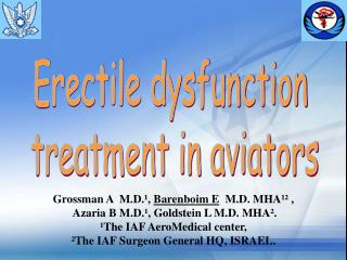 Erectile dysfunction  treatment in aviators