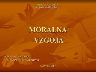 Univerza na Primorskem Pedago ka fakulteta Koper
