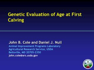 Genetic Evaluation of Age at First Calving