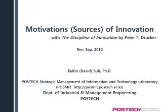 Motivations Sources of Innovation  with The Discipline of Innovation by Peter F. Drucker