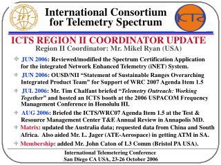 ICTS REGION II COORDINATOR UPDATE  Region II Coordinator: Mr. Mikel Ryan USA