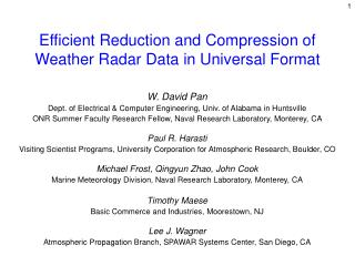 Efficient Reduction and Compression of Weather Radar Data in Universal Format