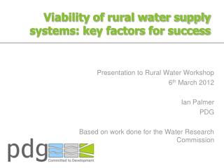 Viability of rural water supply systems: key factors for success