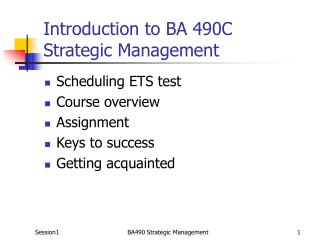 Introduction to BA 490C Strategic Management