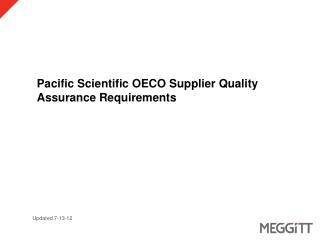 Pacific Scientific OECO Supplier Quality Assurance Requirements