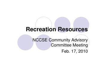 Recreation Resources
