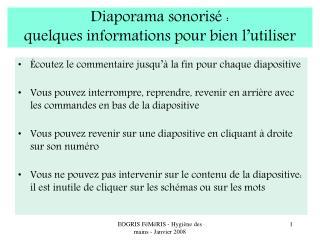 Diaporama sonoris  :  quelques informations pour bien l utiliser