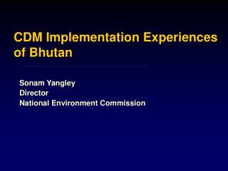 CDM Implementation Experiences of Bhutan