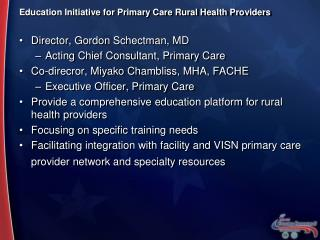 Education Initiative for Primary Care Rural Health Providers