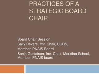 Effective Practices of a Strategic Board Chair