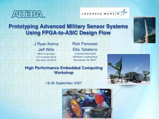 Prototyping Advanced Military Sensor Systems Using FPGA-to-ASIC Design Flow