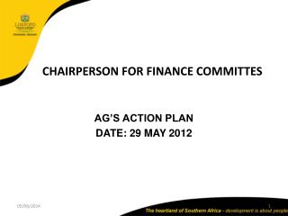 CHAIRPERSON FOR FINANCE COMMITTES