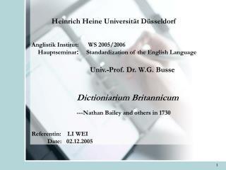 Heinrich Heine Universit t D sseldorf   Anglistik Institut:      WS 2005