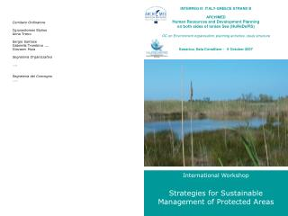 International Workshop  Strategies for Sustainable  Management of Protected Areas