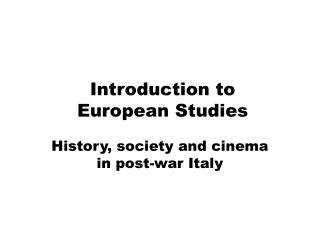 Introduction to  European Studies