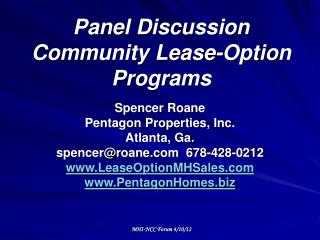 Panel Discussion Community Lease-Option Programs