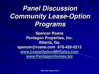 Panel Discussion Community Lease-Option Programs