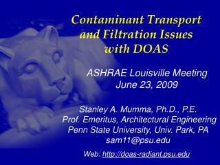 Contaminant Transport and Filtration Issues with DOAS