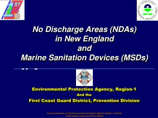 No Discharge Areas NDAs in New England  and Marine Sanitation Devices MSDs
