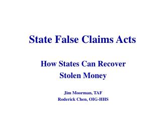 State False Claims Acts
