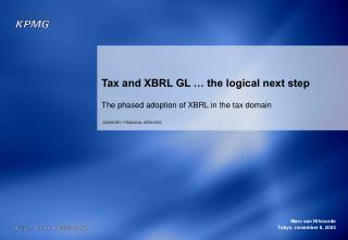 Tax and XBRL GL   the logical next step