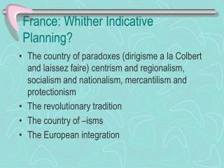 France: Whither Indicative Planning