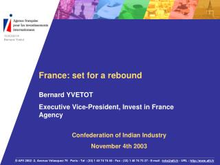 Foreign Direct Investment FDI in France France: Strengths and Weaknesses France: excellence in key sectors IFA strategy