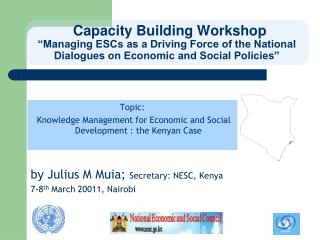 Capacity Building Workshop  Managing ESCs as a Driving Force of the National Dialogues on Economic and Social Policies