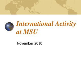 International Activity at MSU