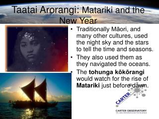 Taatai Arorangi: Matariki and the New Year