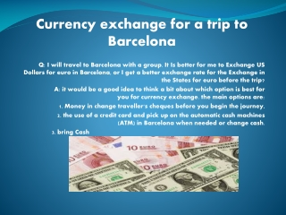 Valutawissel voor een reis naar Barcelona
