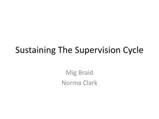 Introduction to Supervision