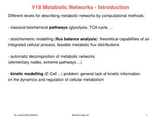 V18 Metabolic Networks - Introduction