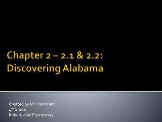 Chapter 2   2.1  2.2: Discovering Alabama