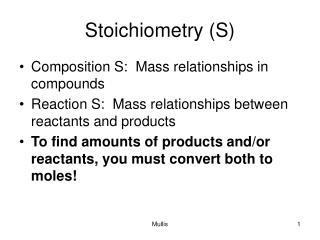 Stoichiometry S