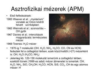 Asztrofizikai m zerek APM