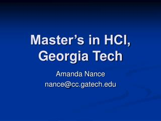 Master s in HCI, Georgia Tech