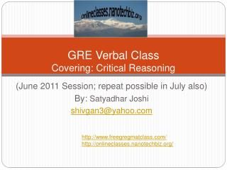 GRE Verbal Class Covering: Critical Reasoning