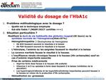 Validit  du dosage de l HbA1c