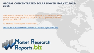 Global Concentrated Solar Power Industry Share And Size 2012
