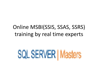 MICROSOFT BUSINESS INTELLIGENCE (SSIS, SSAS, SSRS) by Expert