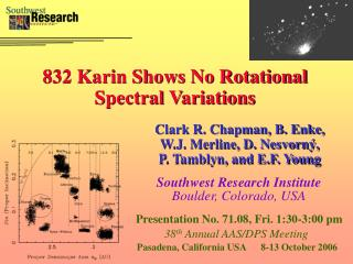 832 Karin Shows No Rotational Spectral Variations