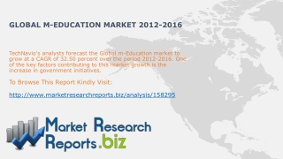 Global m-Education Industry Trends2012-2016:MarketResearchRe