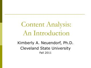 Content Analysis: An Introduction