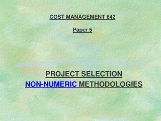 COST MANAGEMENT 642   Paper 5