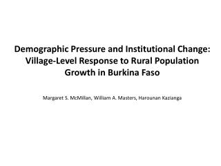 Demographic Pressure and Institutional Change: