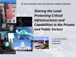 Sharing the Load: Protecting Critical Infrastructures and Capabilities in the Private and Public Sectors