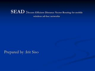 SEAD :Secure Efficient Distance Vector Routing for mobile wireless ad-hoc networks