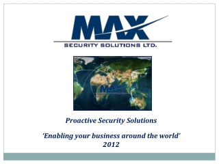 Max Security: MENA and Africa Intel and Executive Protection