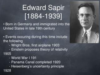 Edward Sapir [1884-1939]